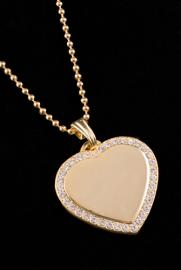 Heart Shaped Pendant with Gem Stones