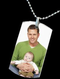 MEDIUM TO LARGE DOG TAG WITH COLOUR PENDANT