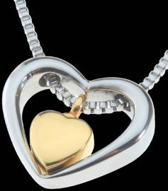 DOUBLE HEART CHELSEA DESIGN MEMORIAL ASH PENDANT