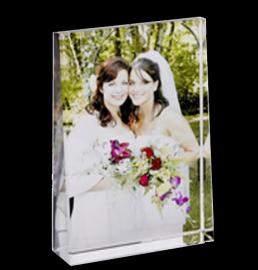 LARGE WEDGED PORTRAIT CRYSTAL IN COLOUR PRINT