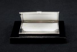 BUSINESS CARD HOLDER RIBBED SILVER PLATED