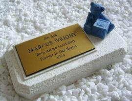 PERSONALISED BABY MEMORIAL PLAQUE WHITE WITH BLUE TEDDY