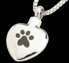 HEART SHAPED ASH MEMORIAL PENDANT WITH PAW PRINT